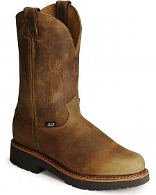 Justin J-Max Pull-On Western Work Boots - Soft Toe