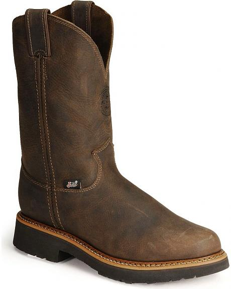 Justin J-Max Pull-On Western Work Boots - Steel Toe