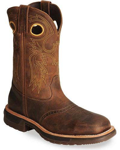 Rocky Mens Saddle Vamp Western Work Boot - Square Steel Toe