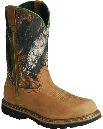 John Deere Mossy Oak Camo Wellington Work Boots - Steel Toe