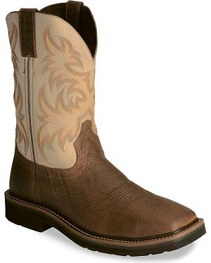 Justin Stampede Copper Western Work Boot - Square Soft Toe