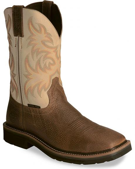 Justin Stampede Copper Western Work Boot - Steel Toe