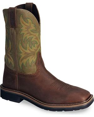 Justin Stampede Waxed Brown Western Work Boot - Square Soft Toe