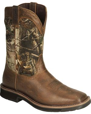 Justin Stampede Camo Waterproof Pull-On Work Boots