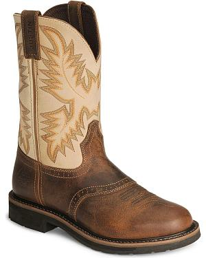 Justin Stampede Waxed Brown Saddle Waterproof Work Boots - Soft Round Toe