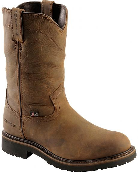 Justin Wyoming Waterproof Pull-On Work Boots - Round Toe