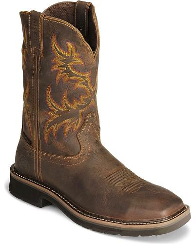 Justin Stampede Tan Waterproof Work Boots Soft Square Toe Western & Country WK4689