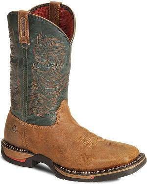 Rocky Brown Long Range Waterproof Pull On Work Boot - Sq Toe