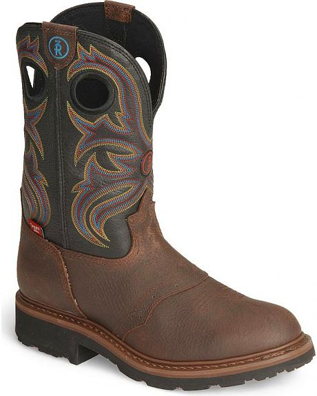 Tony Lama 3R Pull-On Western Work Boots - Round Toe