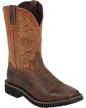 Justin Rugged Tan Stampede Pull-On Work Boots - Square Toe