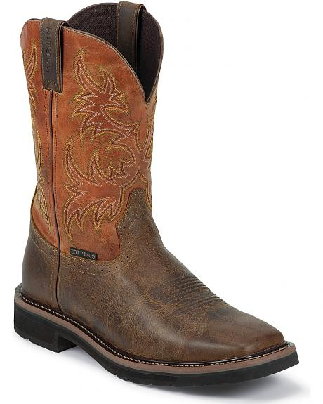 Justin Rugged Tan Stampede Pull-On Work Boots - Composite Toe