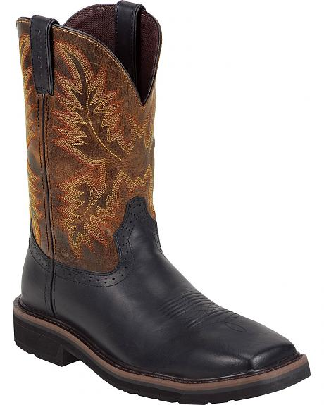 Justin Oiled Leather Stampede Pull-On Work Boots - Square Toe