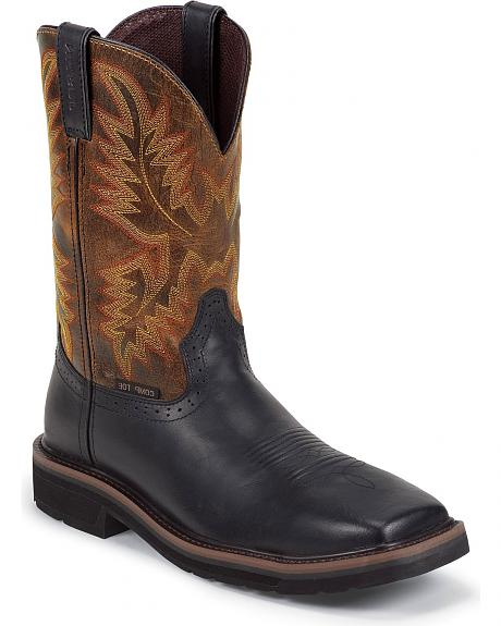 Justin Oiled Leather Stampede Pull-On Work Boots - Square Composite Toe
