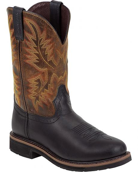 Justin Oiled Leather Stampede Pull-On Work Boots - Round Toe