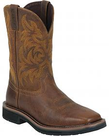 Justin Tan Tail Stampede Pull-On Work Boots - Square Toe
