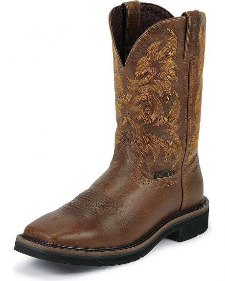 Justin Tan Tail Stampede Pull-On Work Boots - Steel Toe