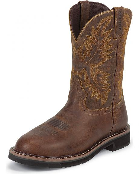 Justin Tan Tail Stampede Pull-On Work Boots - Round Toe