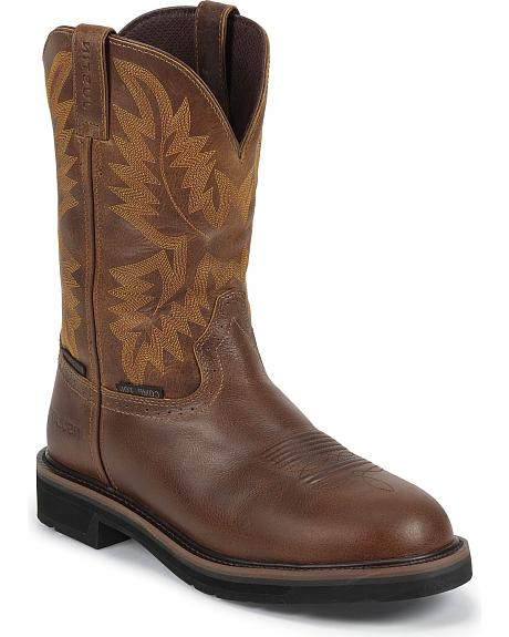 Justin Tan Tail Stampede Insulated Pull-On Work Boots - Composite Toe