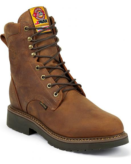 Justin J-Max Waterproof Lace-Up Work Boots -  Round Toe