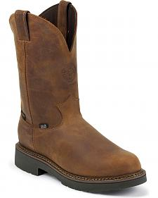 Justin J-Max Waterproof Pull-On Work Boots -  Round Toe