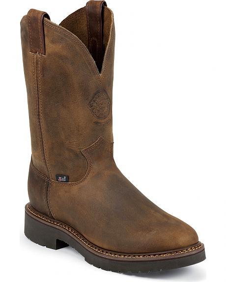 Justin J-Max Bay Apache Pull-On Work Boots - Round Toe