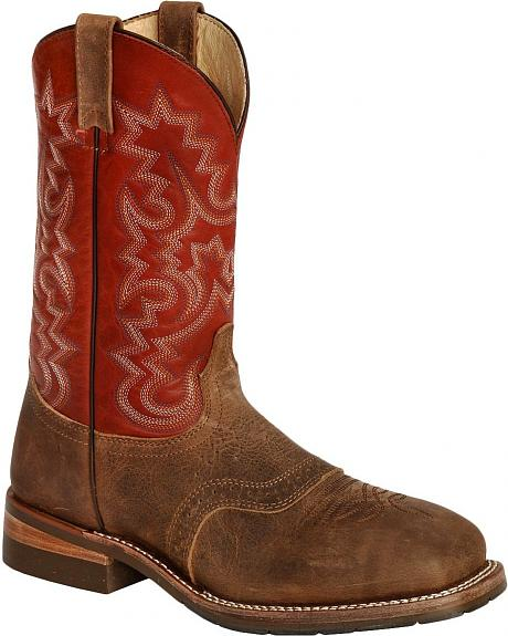 Dan Post Pitstop Western Pull-On Saddle Work Boots - Steel Toe