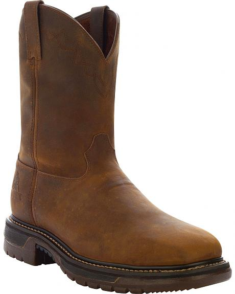 Rocky Ride Pull-On Leather Work Boots- Square Steel Toe