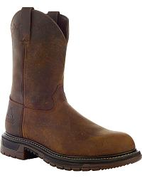 Rocky Ride Pull-On Leather Work Boots- Square Toe at Sheplers
