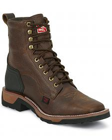 "Tony Lama TLX 7"" Lace-Up Work Boots - Square Toe"