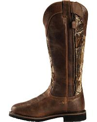 Justin Stampede Waterproof Camo Snake Boots Round Toe