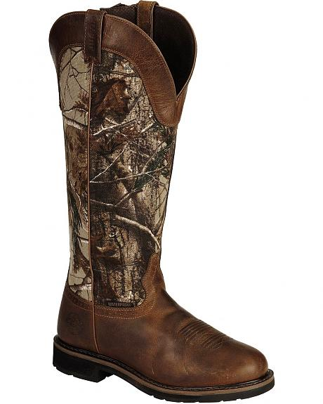 Justin Stampede Waterproof Camo Snake Boots - Round Toe