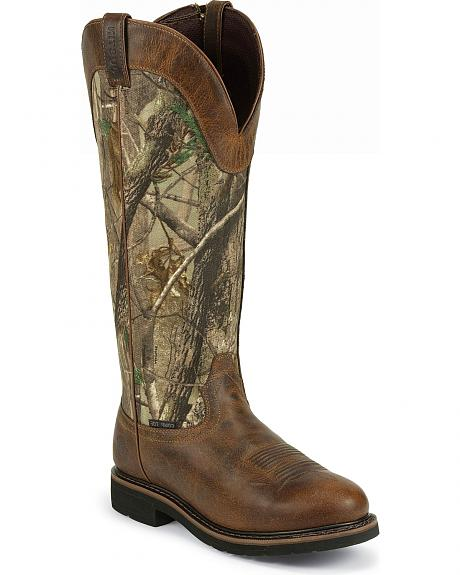 Justin Stampede Waterproof Camo Snake Boots - Composite Toe