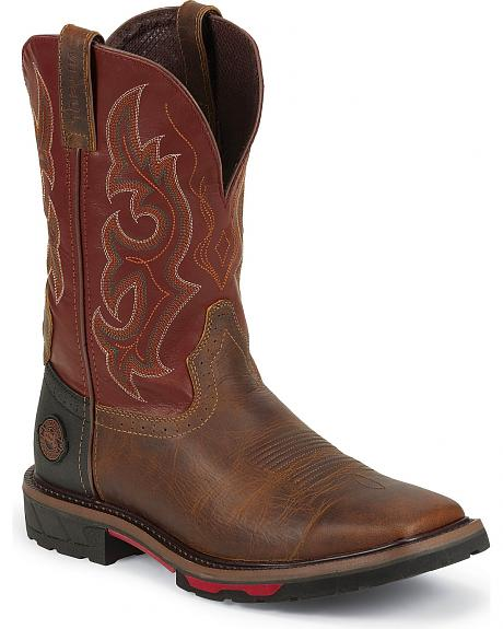 Justin Hybred Red Work Boots - Square Toe