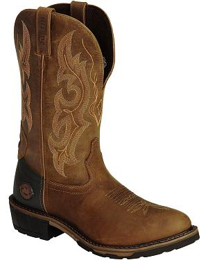 Justin Light Brown Hybred Western Work Boots - Round Toe