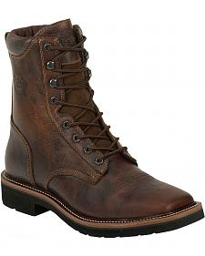 "Justin Stampede 8"" Lace-Up Stampede Work Boots - Square Toe"