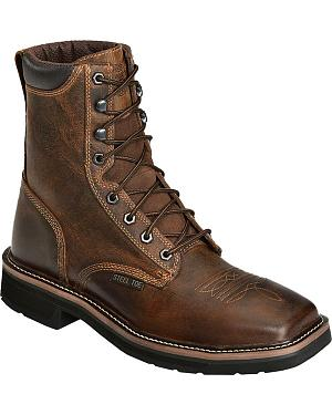 "Justin Stampede 8"" Lace-Up Work Boots - Steel Toe"