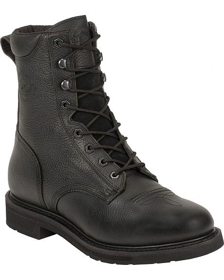 Justin Stampede Black Laceup Work Boots - Round Toe