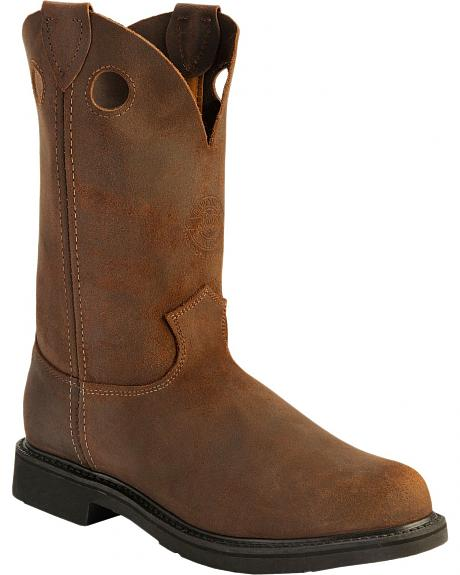 Justin American Tradition Pull-On Work Boots - Round Toe