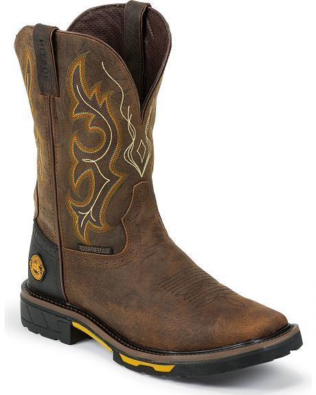 Justin Hybred Waterproof Pull-On Work Boots - Composition Toe