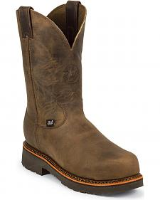 "Justin J-Max 8"" Pull-On Work Boots - Composition Toe"