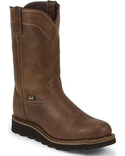 "Justin Work II 10"" Pull-On Work Boots Composition Toe Western & Country WK4987"