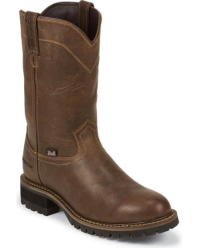 "Justin Work II 10"" Waterproof Pull-On Work Boots Composition Toe Western & Country WK4989"
