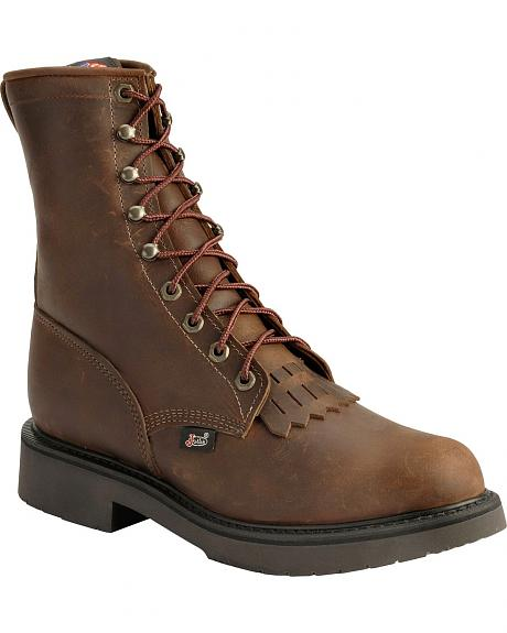 Justin Original Lace-Up Work Boots - Round Toe