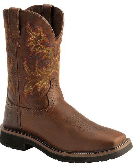 Justin Stampede Work Boots - Soft Square Toe