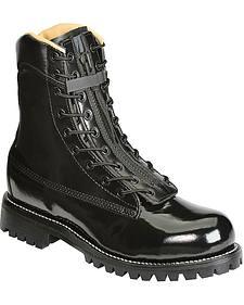 "Chippewa Polishable 8"" Black Zip and Lace-Up Work Boots - Steel Toe"