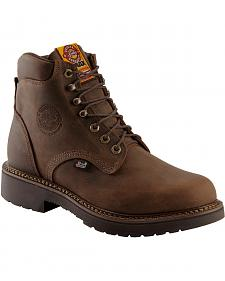 "Justin J-Max Rugged Gaucho 6"" Lace-Up Work Boots - Round Toe"
