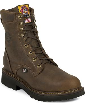 "Justin J-Max Rugged Gaucho 8"" Lace-Up Work Boots - Round Toe"