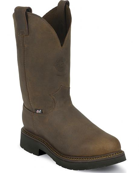 Justin J-Max Rugged Bay Gaucho Pull-On Work Boots - Steel Toe