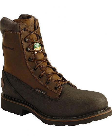 Justin Tec-Tuff Lace-Up Work Boots - Steel Toe