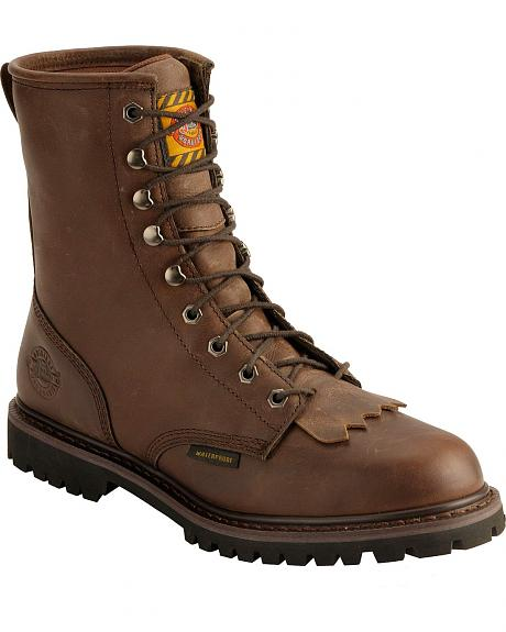 Justin Rugged Utah Lace-Up Logger Work Boots - Round Toe